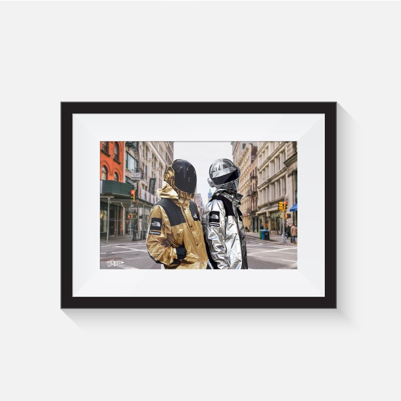 Image of FRAMED PRINT NYC SUPREME DAFT PUNK - LIMITED TO 20 COPIES - SHIPPED WORLDWIDE INCLUDES IN THE PRICE