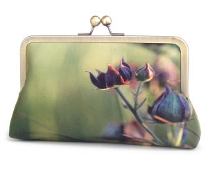 Purple green wildflower clutch bag, printed silk purse, Marsh Cinquefoil - Red Ruby Rose
