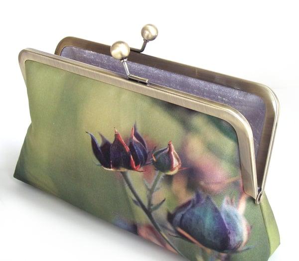 Purple green wildflower clutch bag, printed silk purse, Marsh Cinquefoil - Red Ruby Rose