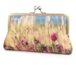 Wildflower meadow clutch bag, printed silk purse, summer handbag  - Red Ruby Rose