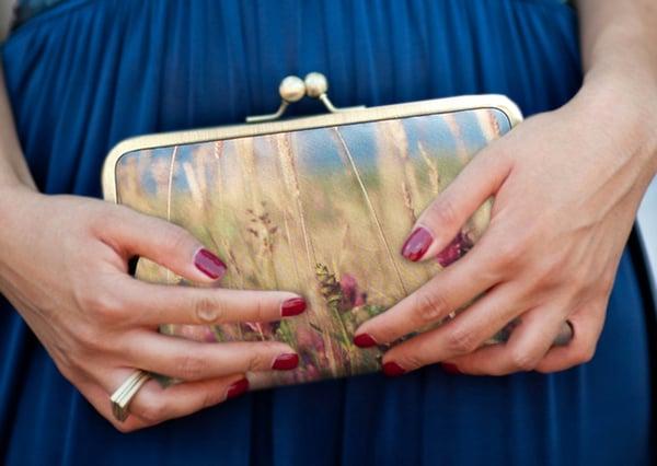 Wildflower meadow clutch bag, printed silk purse, summer handbag  - Red Ruby Rose