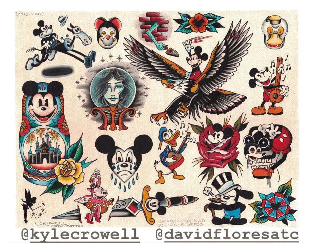 "Image of 16x20"" Disney/Disneyland split flash with David Flores ATC"