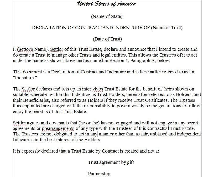 Indentures The Trust Contract Trusted1gcartel