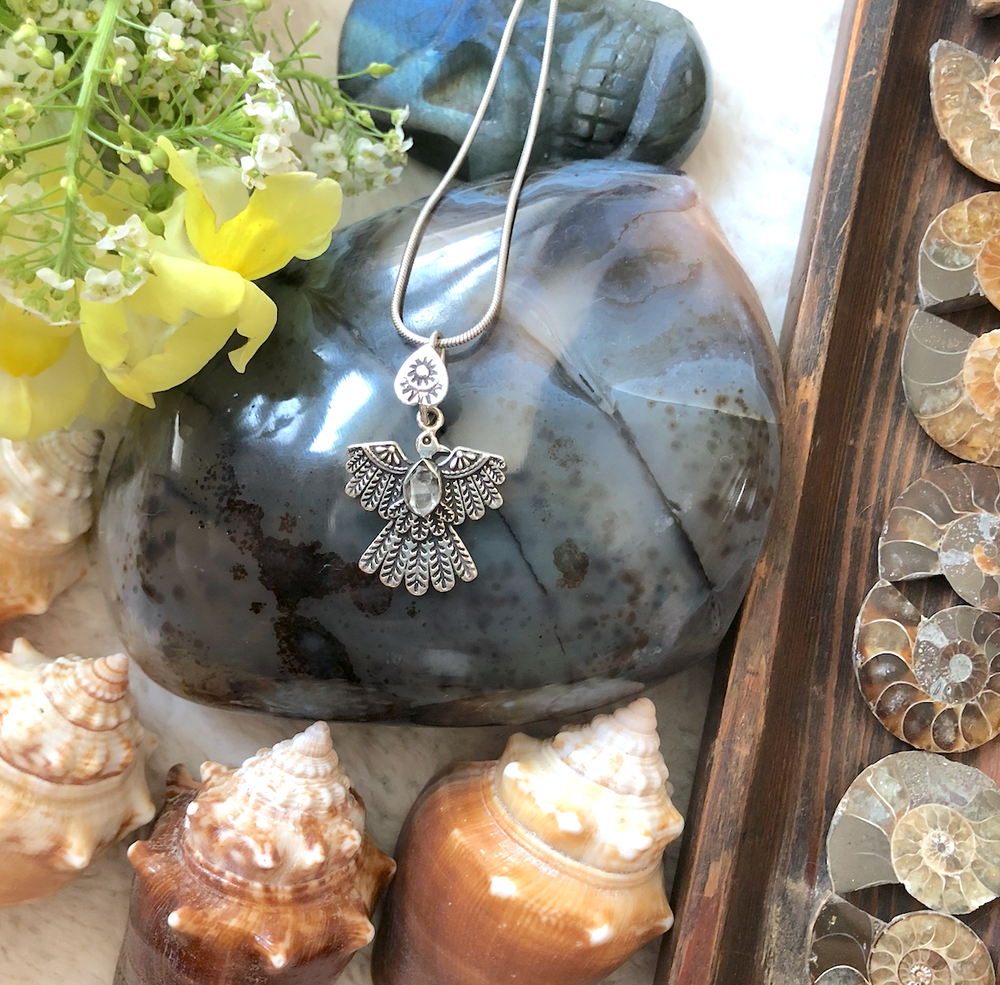 Image of Herkimer Diamond Eagle Amulet Sterling Silver Necklace