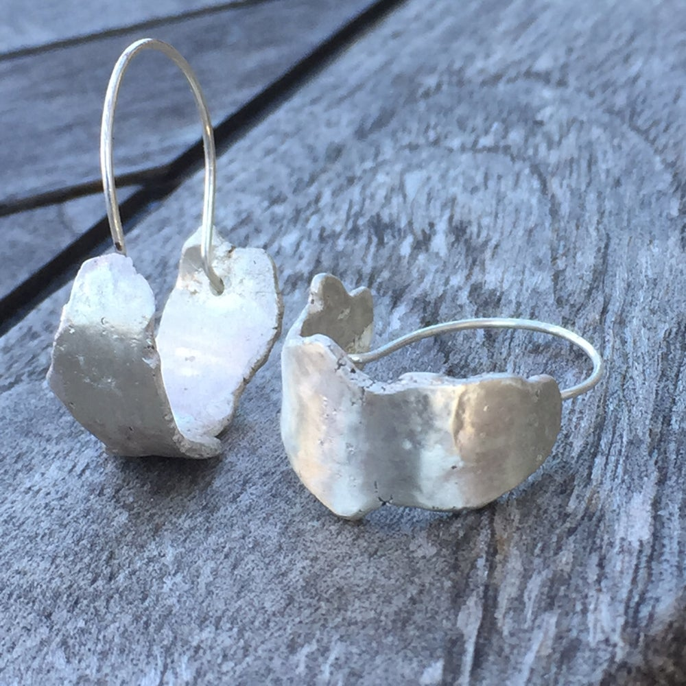 Image of Hammered silver hoops
