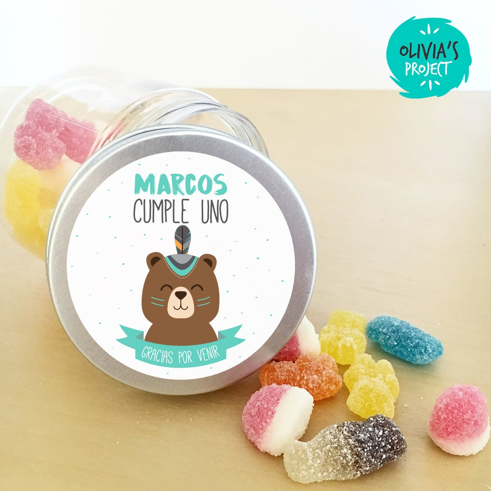 Image of Tarritos de chuches cumple - Tribal Bear