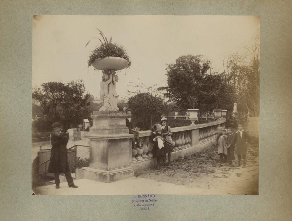 Image of A. L. Bonnard: a park scene in Paris, Jardin du Luxembourg, 1880