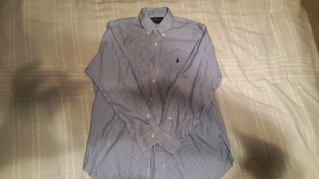 "Image of Ralph Lauren Polo Button Down Shirt ""White/Blue"""