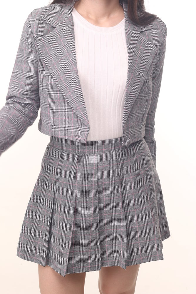 Image of Cher Blazer Set In Grey Plaid