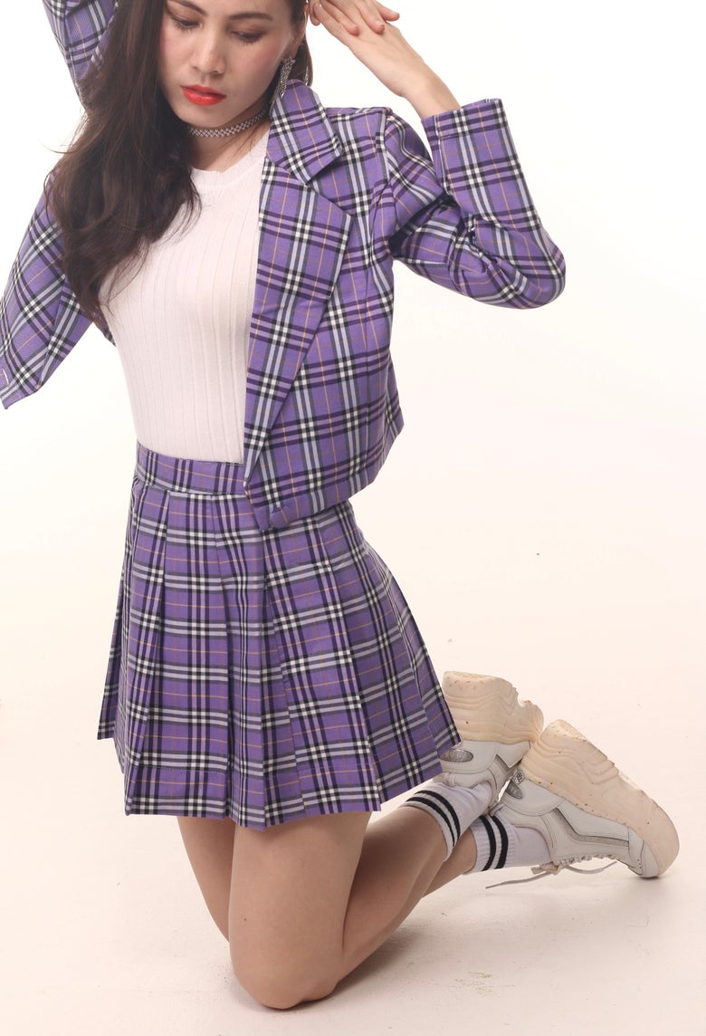 Image of Cher Blazer Set in Purple Tartan