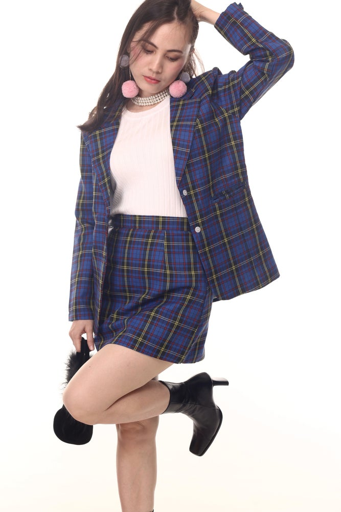 Image of Cher 2 piece set - Long Blazer In Blue Tartan