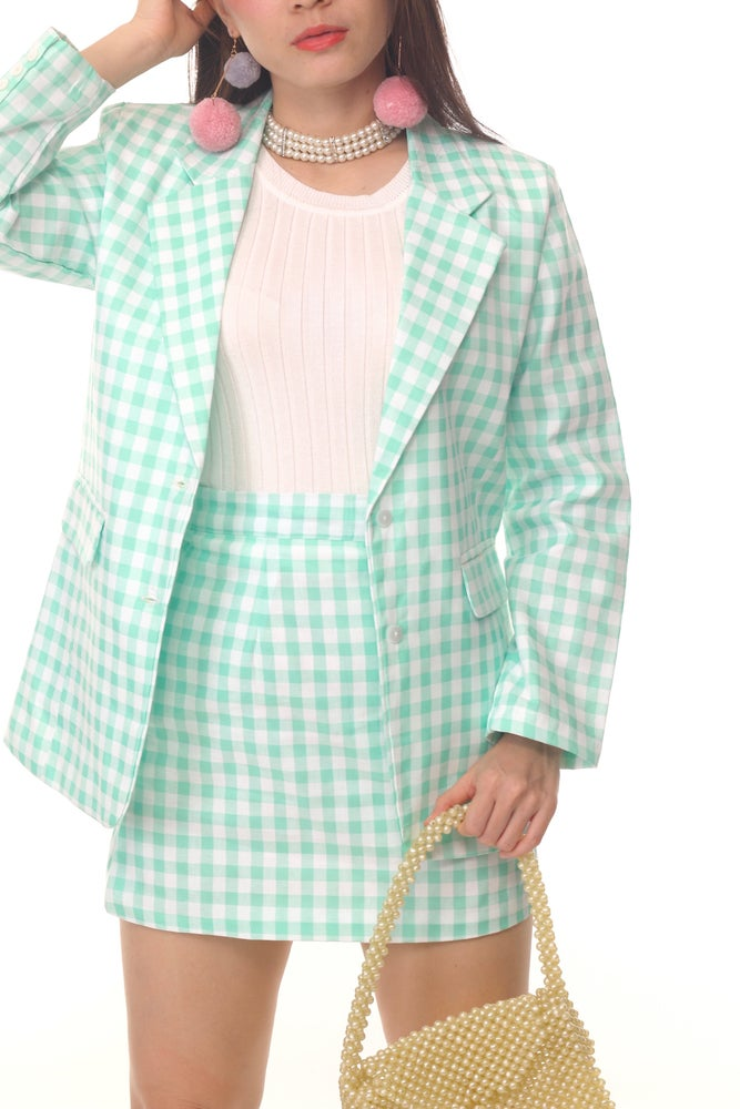 Image of Cher Long Blazer Set in Mint Gingham
