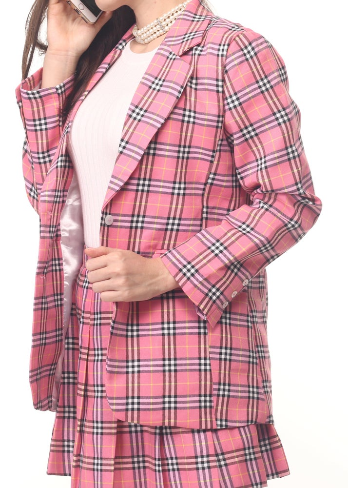 Image of Cher Long Blazer Set in Pink Tartan