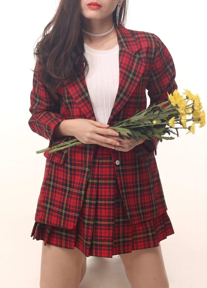 Image of Cher Long Blazer Set in Red Tartan