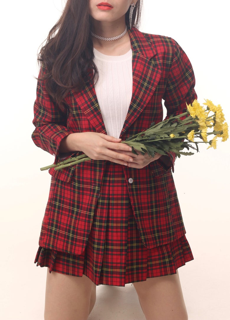 Image of Cher Long Blazer Set in Red Tartan