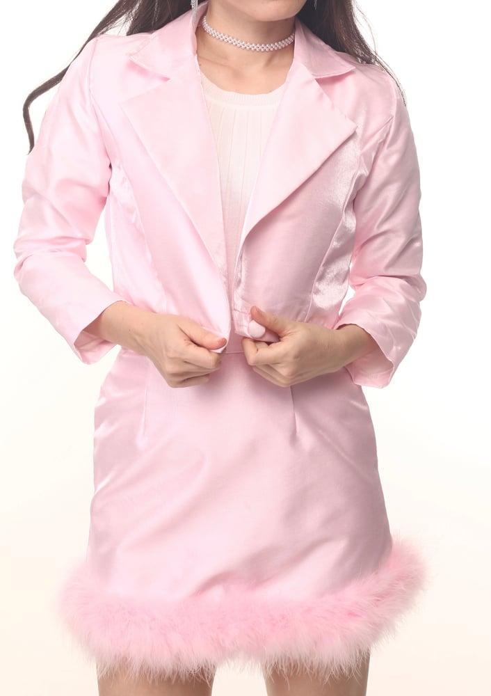 Image of Michelle Silk Blazer Set in Pink