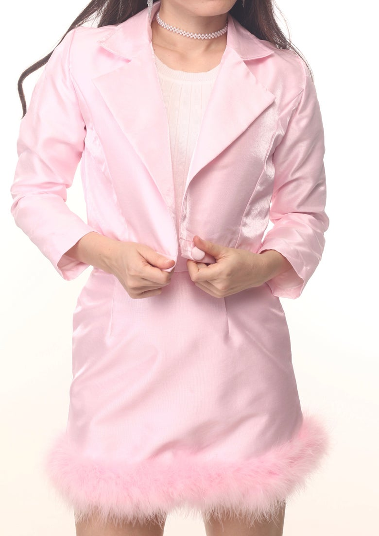 Image of Michelle Silk Blazer Set in Pink