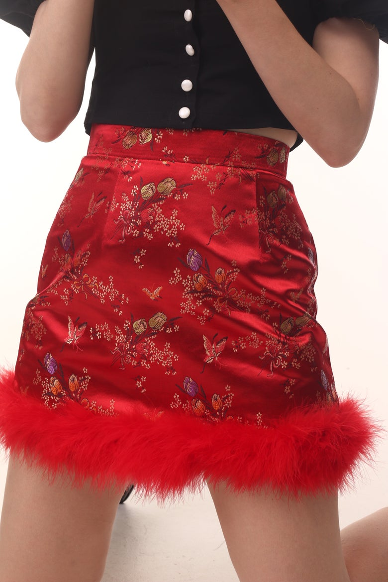 Image of Michelle Red Floral Silk Skirt
