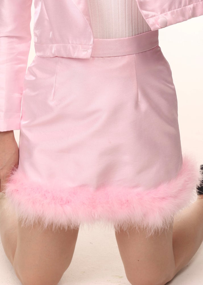 Image of Michelle Silk & Fluff Skirt in Pink