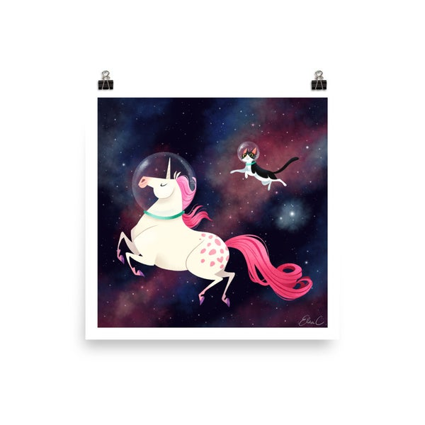 Image of Space Unicorn and Cat Print