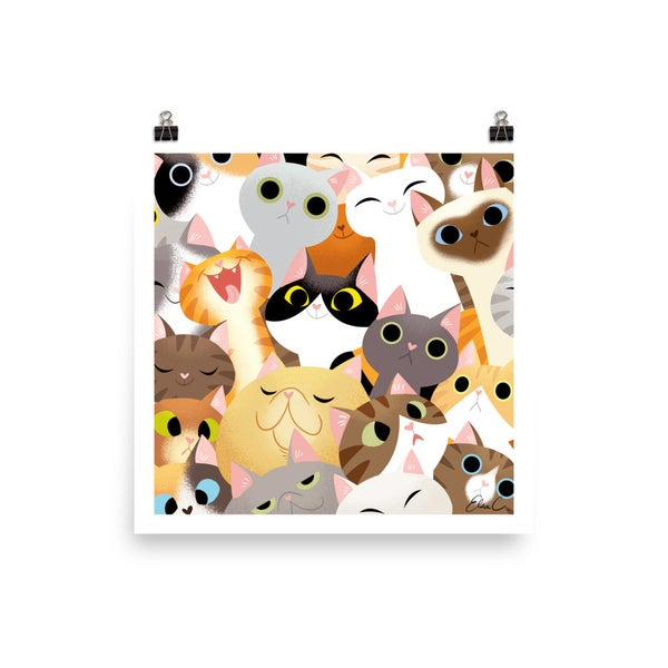 Image of Cat Crowd Print