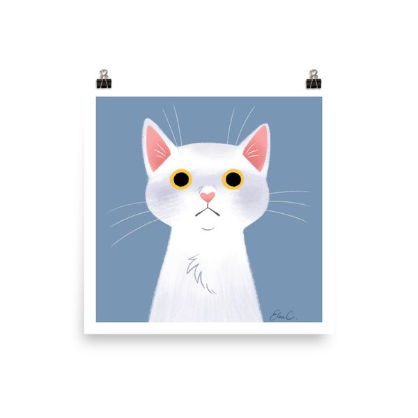 Image of White Cat Print