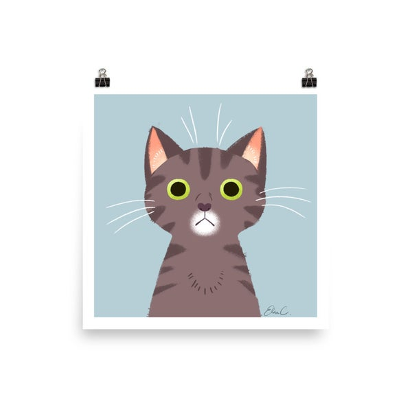 Image of Grey Tabby Cat Print