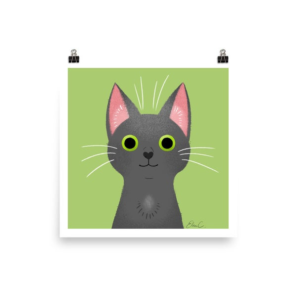 Image of Grey Cat Print