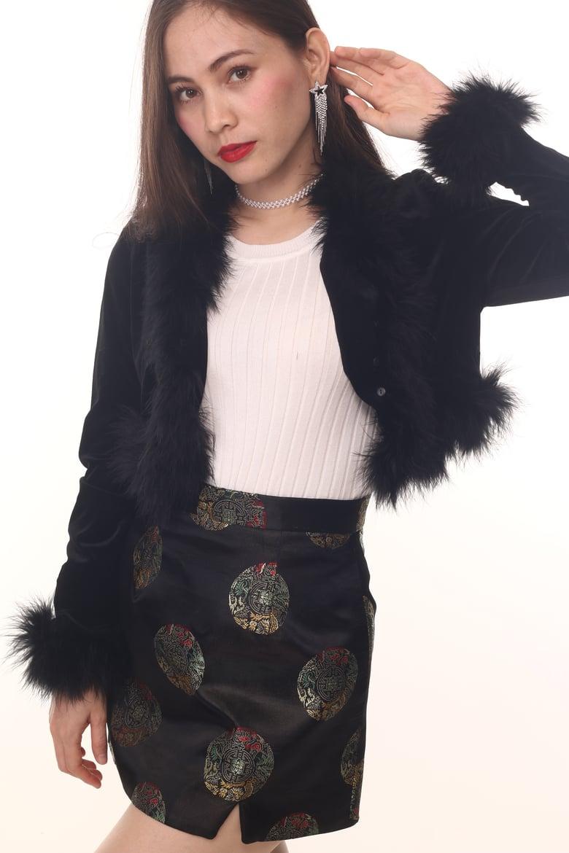 Image of Amber Black Velvet Cardi