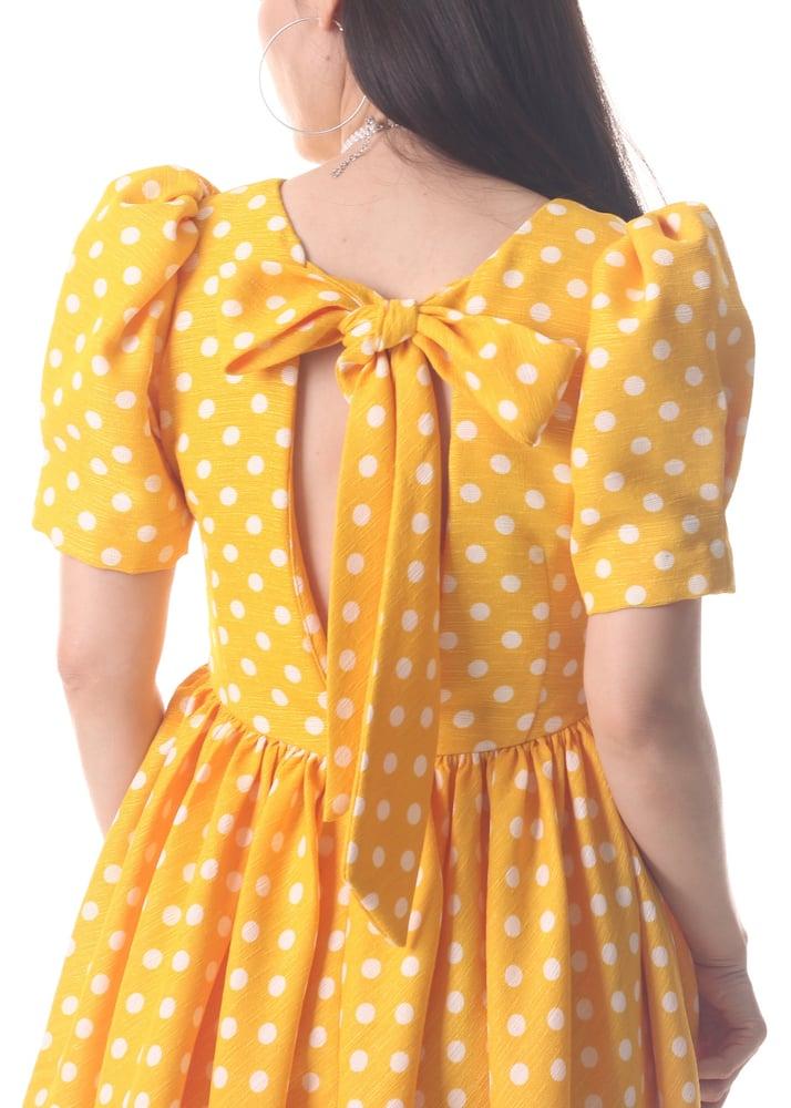 Image of Bella Dress in Yellow Polka Dot