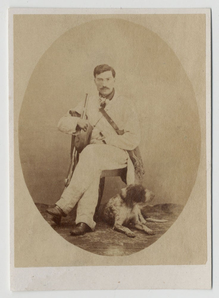 Image of CdV of an Italian hunter with his dog and rifle