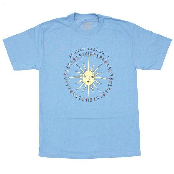 Image of PEACE LOVE AND HARDWARE TEE CAROLINA BLUE