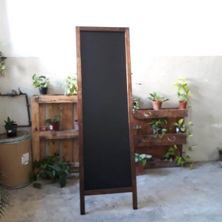 Image of Tall Single-Sided Standing Chalkboard with Walnut Frame