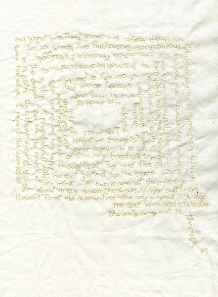 Image of The only way out is through. Original embroidery on muslin.
