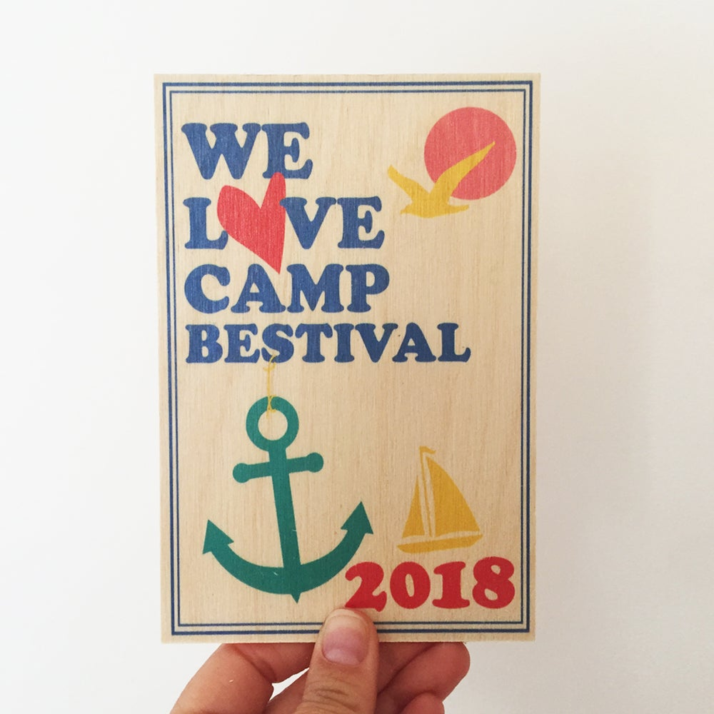 Image of Camp Bestival Wooden Postcard 2018