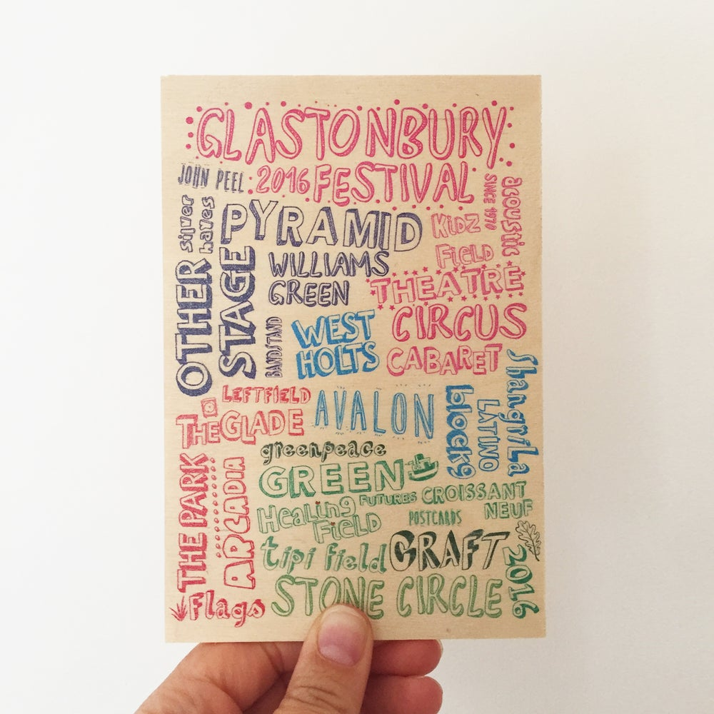 Image of Glastonbury Festival Wooden Postcard 2016
