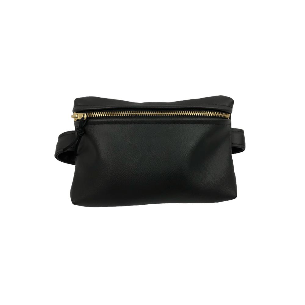 Image of Black Faux Leather Belt Bag