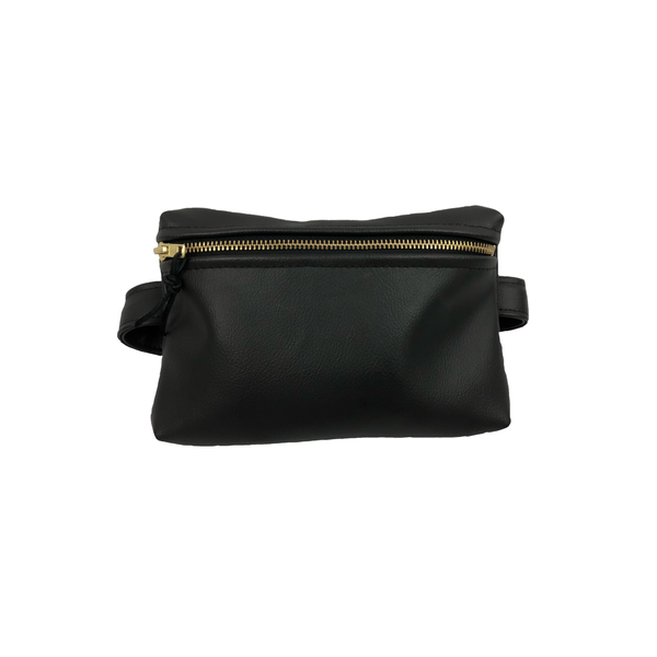 Image of Black Faux Leather Belt Bag
