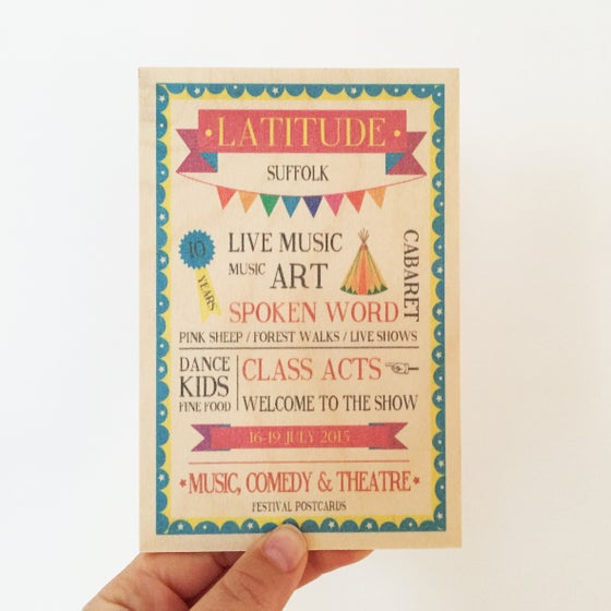 Image of Latitude Festival Wooden Postcard 2015