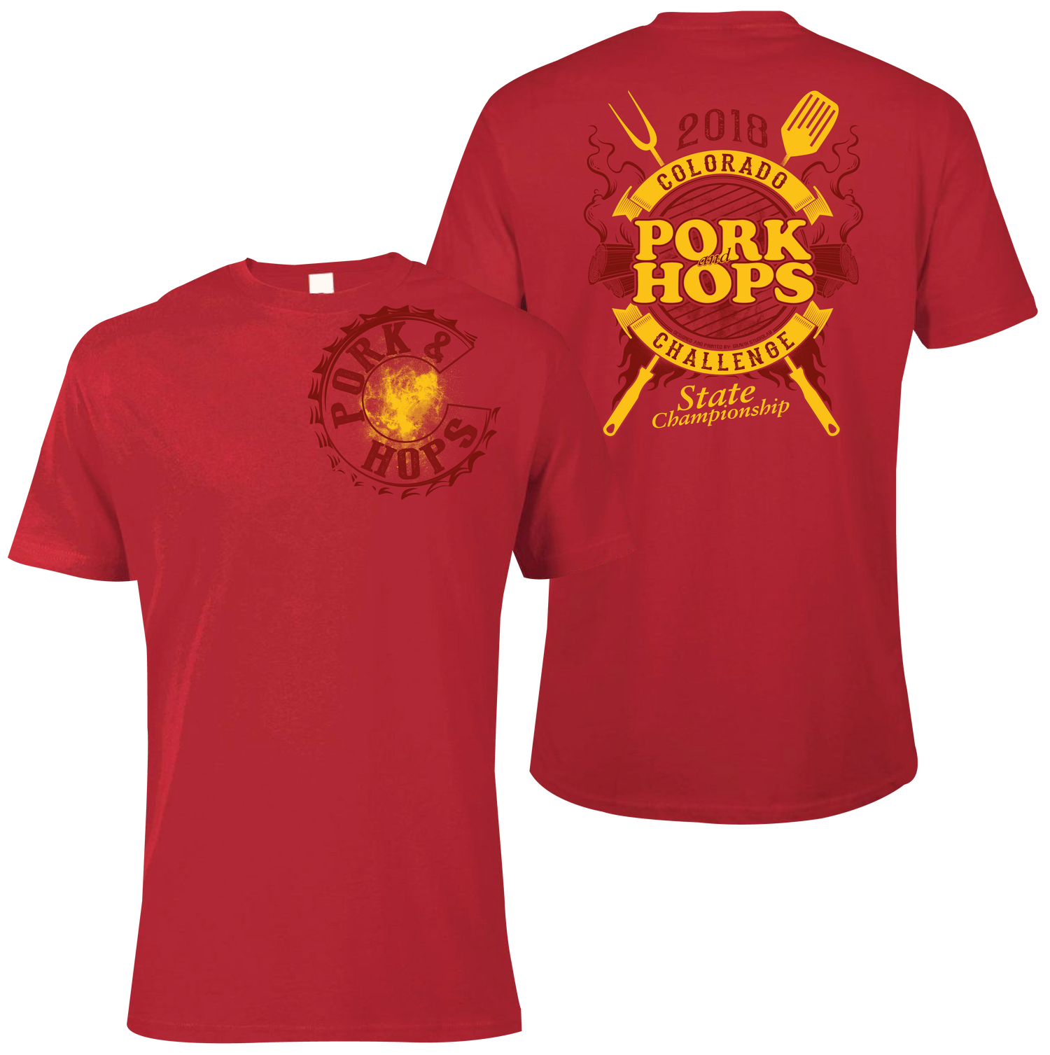 Image of Mens PORK & HOPS T-SHIRT (White and Red)