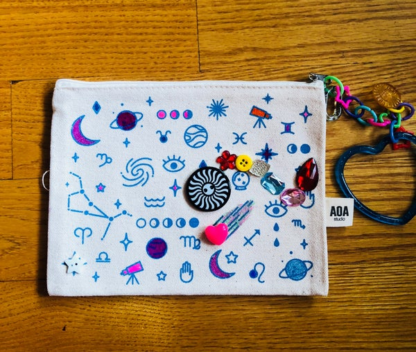 Image of Canvas zipper pouch: cosmic stars
