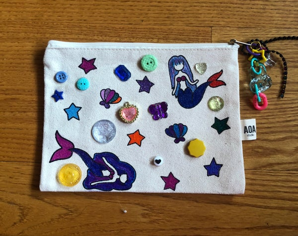 Image of Canvas zipper pouch: mermaids