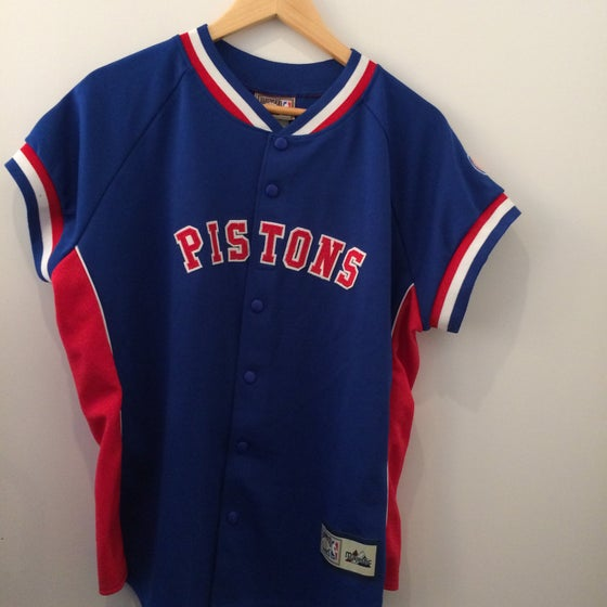 Image of Vintage Detroit Pistons Majestic x Harwood Classics Warm Up Jersey Men's XL