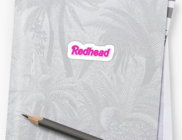 Image of REDHEAD barbie font sticker