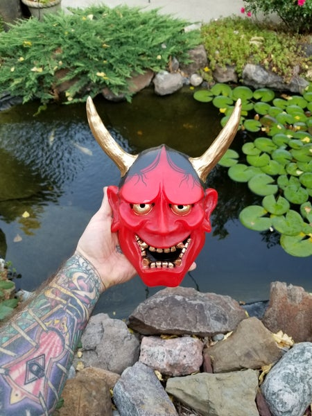 Image of LARGE HAND PAINTED RED HANNYA