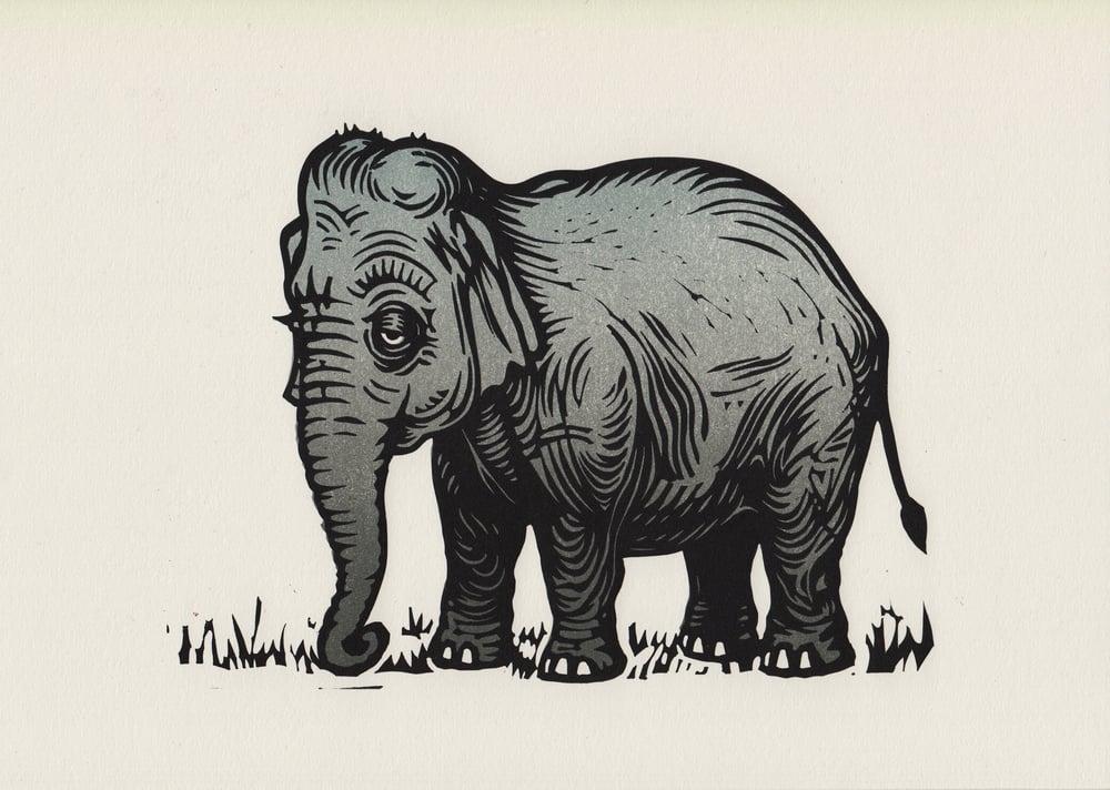 Image of Elephant linocut original print