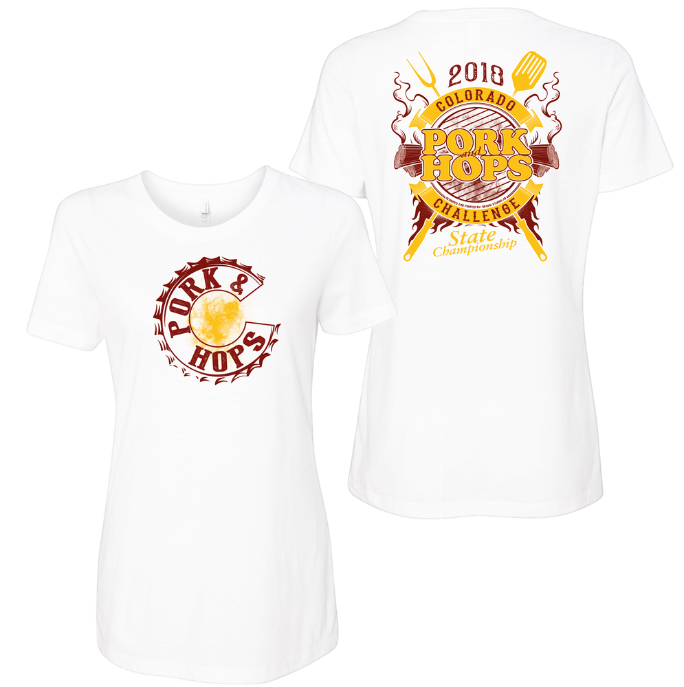 Image of WOMENS PORK & HOPS T-SHIRT (White and Red)
