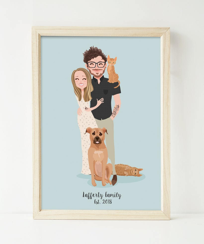 Image of Couple and 3 pets