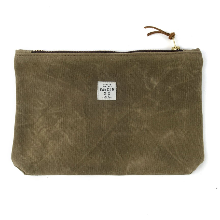Image of Large Waxed Canvas Zipper Pouch - Olive