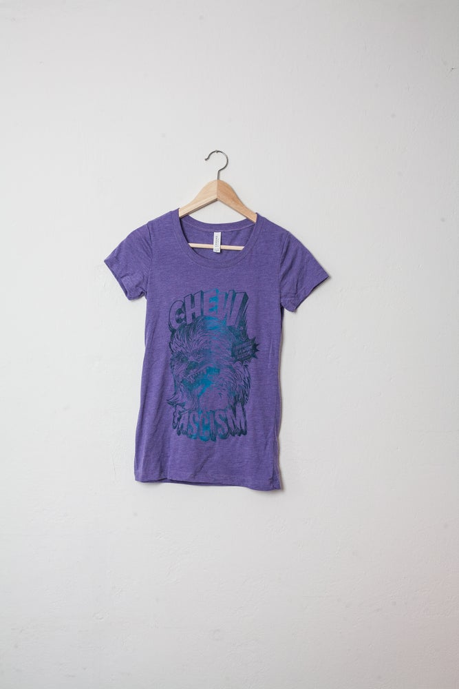 Image of Womans Shirt CHEW FASCISM  Purple Blue